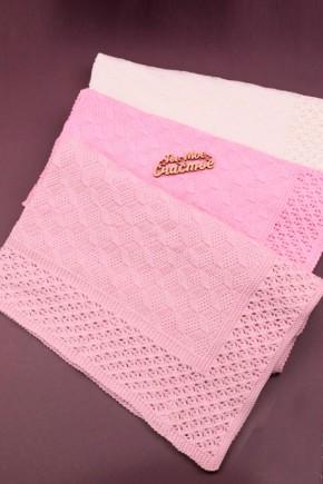 Плед для новорожденных Фламинго ажурный 90х90