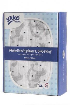 Пеленки из органического хлопка XKKO 120x120 Серебряная лошадка-качалка