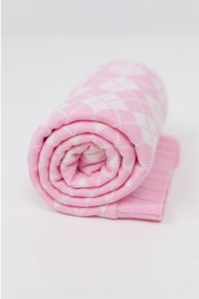 Шерстяной детский плед для прогулок 90х90 Lutik розовый
