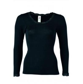 Термокофта женская Engel из шерсти и шёлка черная