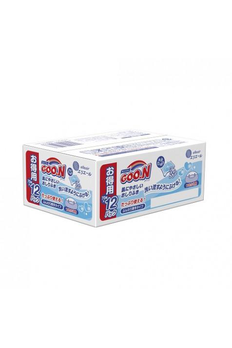 Влажные салфетки GOO.N для чувствительной кожи  (12 мягких сменных блоков по 70 шт)