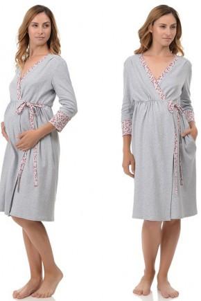 Халат для беременных и кормящих Mamma Lux серый с красной отделкой