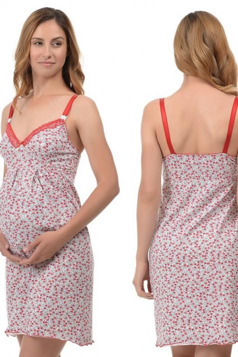 Ночная рубашка для беременных или кормящих на бретелях Mamma Lux маковка