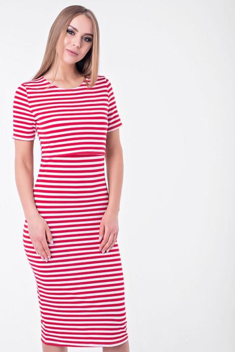 Платье для беременных и кормящих Lullababe барселона в красную полоску