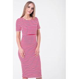 Платье для беременных и кормящих Lullababe Барселона в красную полоску миди