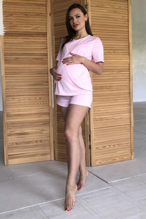 Пижама для беременных и кормящих Lullababе Paleromo розовая