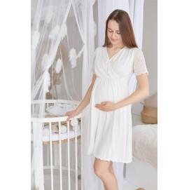Ночная рубашка для беременных и кормящих Milk and the city Grace молочный