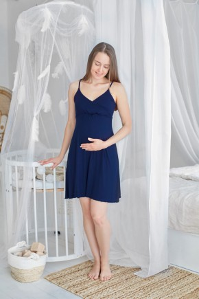 Ночная рубашка для беременных и кормящих Milk and the city Mirelle темно-синий