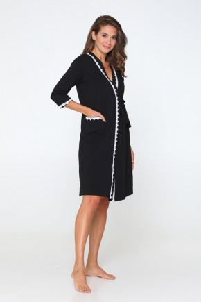 Комплект (халат + ночная сорочка) для беременных и кормящих Lullababe Sidney черный