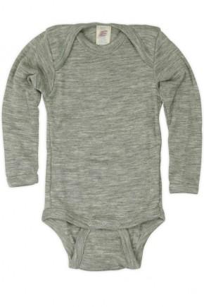 Термободи детский Engel из мериносовой шерсти и шелка серый в сине-зеленую полоску