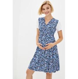 Сорочка домашняя для беременных и кормящих Milk and the city Mirelle голубая