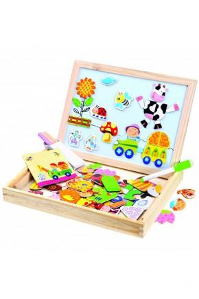 Игра в деревянной коробке с магнитными пазлами - Ферма Bino 88117