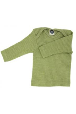 Термокофточка длинный рукав, хлопок/шерсть/шелк, зеленый, Cosilana арт. 91033