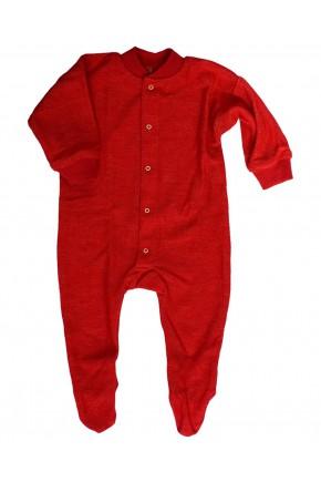 Дитячий вовняний термо комбінезон Cosilana з вовни мериноса червоний 45095