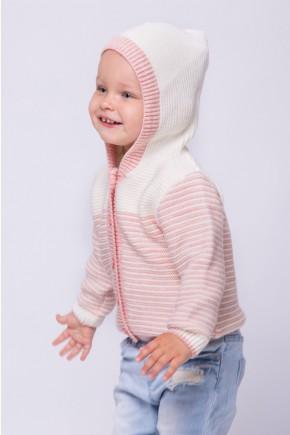 Кофта для девочки Lutik в полоску с капюшоном