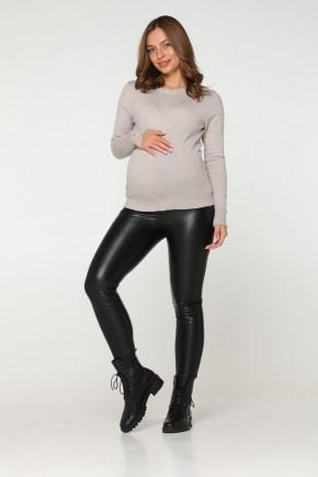 Кожаные лосины для беременных зимние Lullababe Koln черные