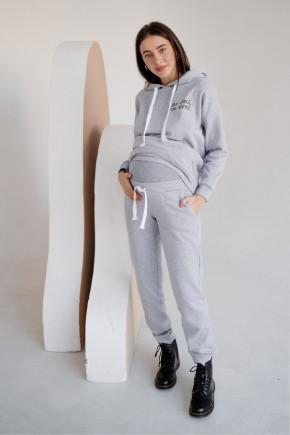 Спортивный костюм для беременных и кормящих To be 4218 серый меланж