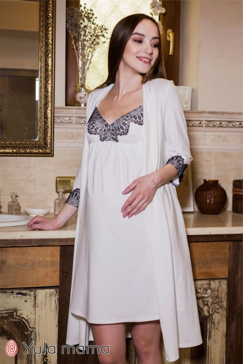 Комплект (ночнушка и халат) для беременных и кормящих Юла Мама Maya NW-3.1.5