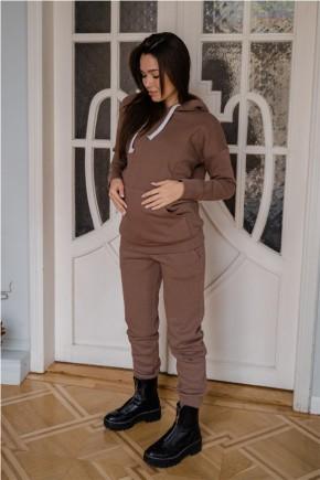 Спортивный костюм для беременных и кормящих To be 4218 коричневый