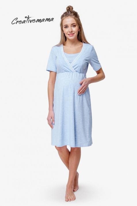 Ночная рубашка для беременных и кормящих Creative Mama Blue Coton