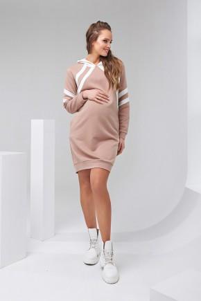 Платье-худи для беременных и кормящих Dianora 2143 бежевое