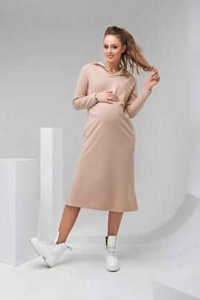 Платье-худи для беременных и кормящих Dianora 2126 бежевое