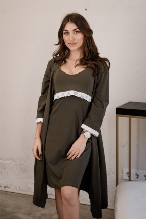 Ночная рубашка для беременных и кормящих To be 3059 хаки
