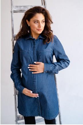 Блуза (рубашка) для беременных и кормящих To be 1268 синяя
