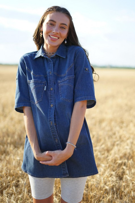 Блуза для беременных и кормящих To be 8984 синяя варка 3