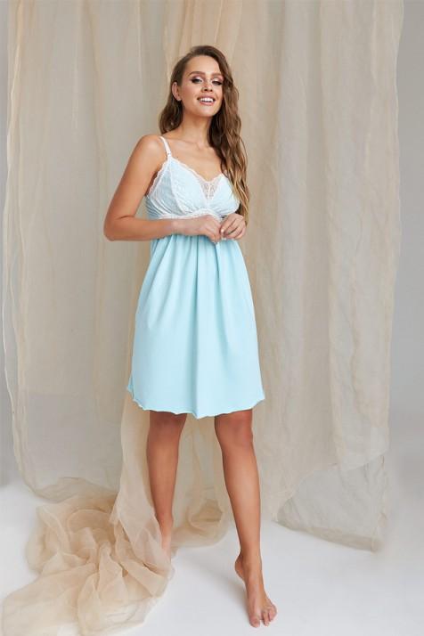 Ночная рубашка для беременных и кормящих Dianora 2066 голубая