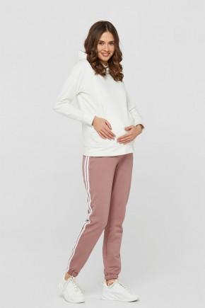 Спортивные штаны для беременных с лампасами Lullababe Lublin темная пудра