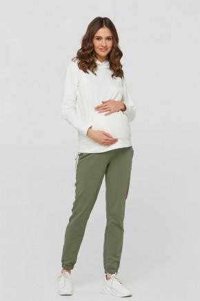Спортивные штаны для беременных с лампасами Lullababe Lublin оливковые