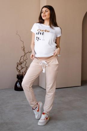 Спортивные штаны для беременных To be 4040 светло-бежевые
