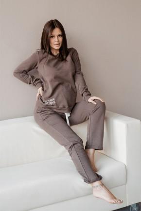 Спортивный костюм для беременных и кормящих To be 4205 коричневый