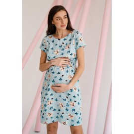 Платье для беременных и кормящих To be 3178 серо-синий горох