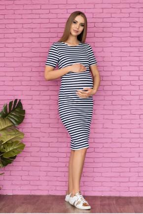 Летнее платье для беременных и кормящих Lullababe Barcelona синее с белым