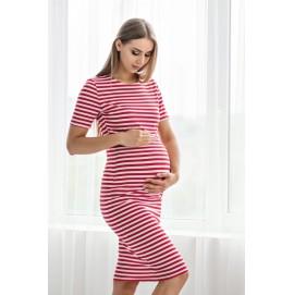 Летнее платье для беременных и кормящих Lullababe Barcelona красное с белым