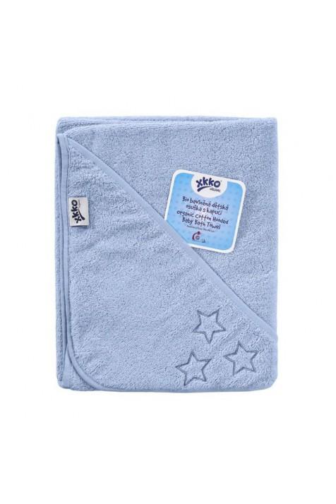 Детское Махровое полотенцек капюшоном XKKO 90x95 Organic  - голубое