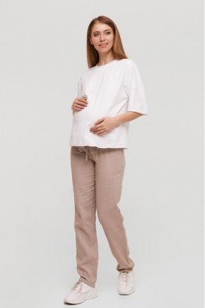 Льняные штаны для беременных Lullababe DOHA бежевые