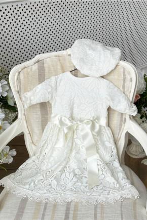 Ажурный набор для девочки Kid's Fantasy на выписки или крестины молочный
