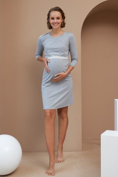 Нічна сорочка для вагітних і годуючих Dianora 2066 блакитна