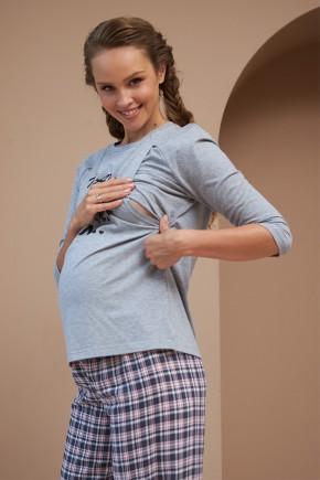 Кофта для беременных и кормящих Dianora 2190 1564 сине-красная клетка