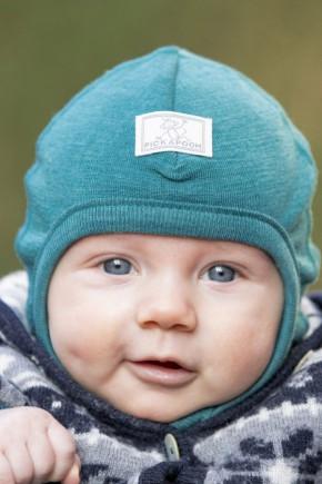 Шапка-шлем детская шерсть 70% шелк 30% Pickapooh Bosse бирюза