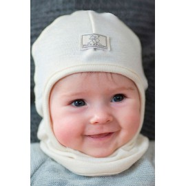 Шапка-шлем детская шерсть 70% шелк 30% Pickapooh Bosse беж