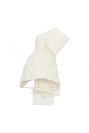 Шапка+шарф Mari-Knit молочная