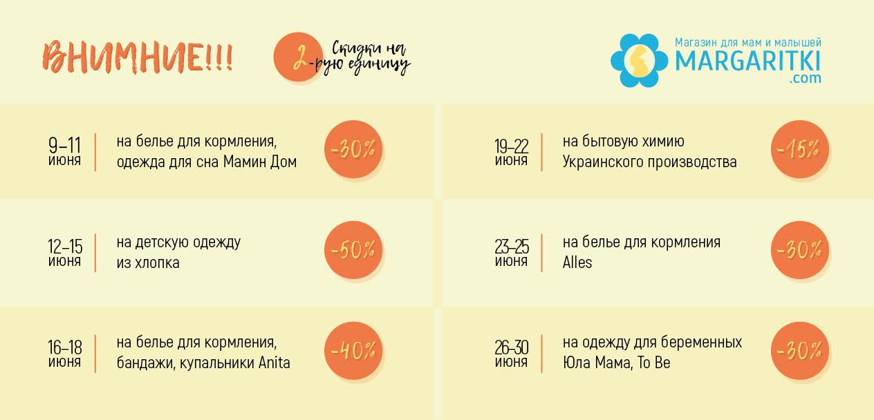 Акции ИЮНЯ  в Margaritki.com